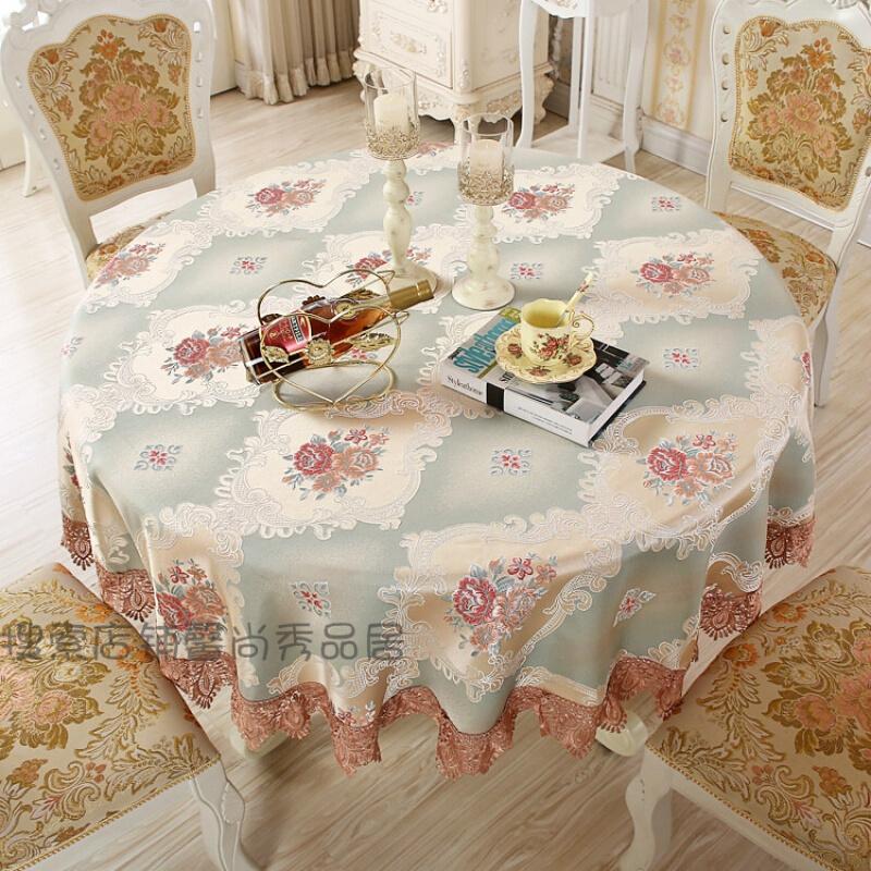 欧式圆桌布布艺餐桌桌布现代家用大圆形桌布茶几台布定制