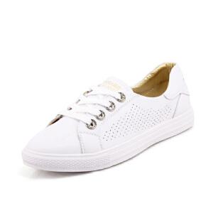 O'SHELL法国欧希尔新品065-8893-3休闲头层牛皮里外全皮真皮平底透气孔女士小白鞋