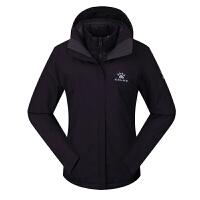 KELME卡尔美 K46C1022 女式三合一连帽户外冲锋衣 两件套保暖运动外套 秋冬季羽绒内胆登山服