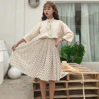 韩版时尚休闲套装夏装女装小清新气质百褶裙半身裙+短袖T恤两件套 均码