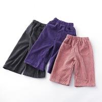 童装女童裤子春装宝宝灯芯绒长裤儿童休闲九分阔腿裤