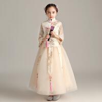 儿童旗袍裙改良唐装小女孩中式礼服女童古筝演出服洋气中国风冬季