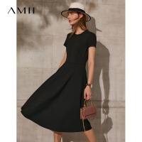 Amii极简法式复古茶歇裙连衣裙2021夏季新款修身A字裙女红色裙子\预售8月2日发货