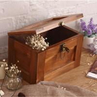 大号仿古木箱储物箱带锁的盒子杂物整理木制诸物箱学生宿舍收纳盒 特大40*30*24 cm
