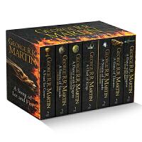 冰与火之歌 英文原版小说 权力的游戏7册盒装全套 A Song of Ice and Fire赠送地图 列王的纷争 冰雨