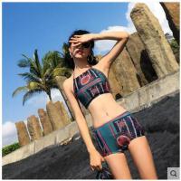沙滩泳装个性气质小胸聚拢温泉度假泳衣女分体泳衣三件套时尚民族复古风