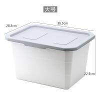 收纳箱塑料特大号衣服整理箱搬家大号收纳盒有盖衣物储物 灰色