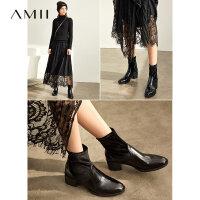 【券后预估价:272元】Amii极简韩版时尚复古靴子女冬季新黑色粗跟尖头拼接百搭短靴