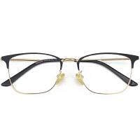 复古半框眼镜架男潮超轻金属方框眼镜框女可配平光文艺全大脸