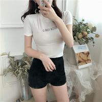 夏季新款韩版字母印花打底衫T恤修身短袖学生百搭上衣女装潮