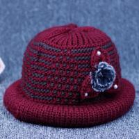 冬季中老年女士盆帽毛线帽加绒保暖礼帽冬天妈妈帽老年人帽子女冬