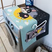 北欧猫咪狗棉麻布艺滚筒洗衣机罩万用盖巾布防尘收纳袋 55x140cm