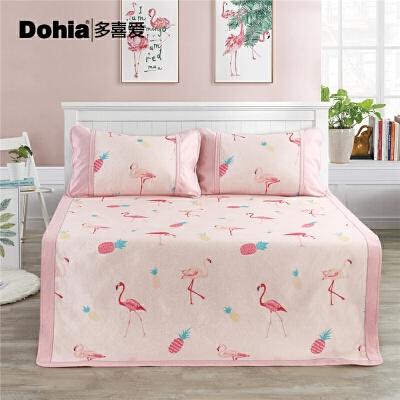 多喜爱单/双人可折叠凉席套件粉红弗洛拉印花冰丝席 时尚火烈鸟 沁凉不冰 老少皆宜