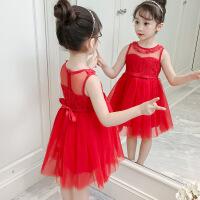 3女童夏装小童公主裙子4儿童小女孩宝宝表演红礼服纱裙6连衣裙7岁