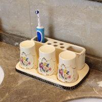 陶瓷欧式牙刷架创意三口之家洗漱卫浴套装漱口杯牙杯牙刷杯牙膏架 3口之家套