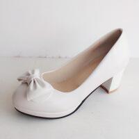 !韩版甜美单鞋女中跟粗跟圆头防水台高跟鞋大码工作浅口女鞋