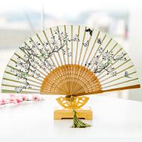夏季舞蹈便携女扇子 丝绸女士折叠扇子日本樱花竹扇古风日式折扇
