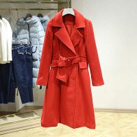 韩版翻领呢大衣女冬装新款 纯色中长款百搭腰带显瘦毛