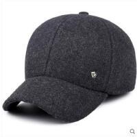 简单百搭耐用休闲保暖护耳鸭舌帽男士帽子中老年毛呢棒球帽