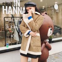 仿皮草外套女装皮毛一体夹克2017新款冬季时尚长袖韩版中长款大衣