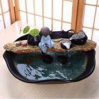 物有物语 流水摆件 创意风水轮陶瓷流水喷泉加湿器工艺品礼品家居摆件