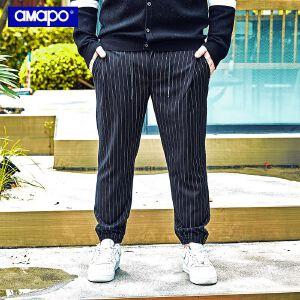 【限时抢购到手价:109元】AMAPO潮牌大码男装胖子肥佬加肥加大码宽松束脚系带休闲长裤男潮