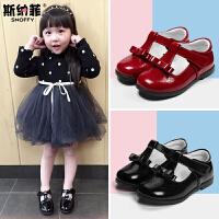 斯纳菲女童鞋春款 女童皮鞋真皮公主鞋黑色秋鞋子韩版儿童小单鞋
