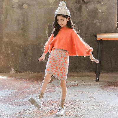 女大童秋冬毛衣套装女孩韩版针织豹纹短裙两件套
