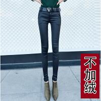 秋冬女士皮裤长款女新款加绒修身薄款打底裤外穿亚光高腰性感 黑色 不加绒款 送腰带