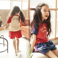 儿童套装夏季韩版男女童短袖T恤短裤两件套中大童纯棉运动套装潮