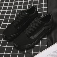 全黑色帆布鞋女学生平底板鞋工作鞋韩版ulzzang布鞋ins超火的鞋子