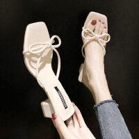 户外拖鞋时尚外穿韩版休闲一字型蝴蝶结中粗跟女鞋