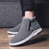 冬季时尚男鞋加绒保暖棉鞋男士低帮一脚蹬懒人雪地靴东北加厚棉靴防水