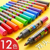 12色油性记号笔彩色双头手绘粗头大头笔套装写pop海报麦克马克笔