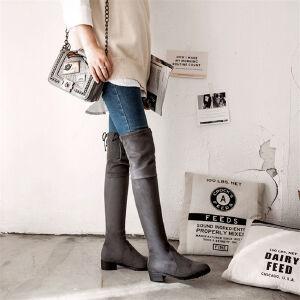 O'SHELL欧希尔新品133-7433欧美磨砂绒面低跟女士过膝长靴