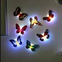 创意夜光自粘七彩灯墙贴3d立体蝴蝶墙上装饰房间的小饰品婚房贴画 1 中