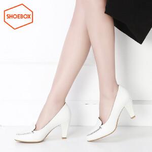 SHOEBOX/鞋柜休闲尖头套脚女鞋尖头浅口酒杯跟女鞋单鞋