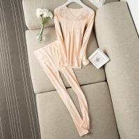 2018新款舒适美体修身 提花 拼蕾丝 V领收腹保暖内衣套装 女 均码