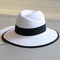 夏天帽子女礼帽M标女士大沿草帽沙滩帽海边太阳帽 防晒遮阳帽子 白色 黑色包边款 可调节