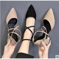 小清新高跟凉鞋女网红同款新款粗跟百搭尖头复古少女原宿风浅口单鞋
