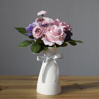 ��意小清新白色陶瓷插花瓶�W式客�d家居�[件��s�F代�M天星干花�