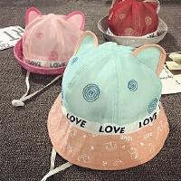 宝宝帽子1-2岁夏天渔夫帽女童网帽遮阳盆帽男防晒婴儿帽12-24个月
