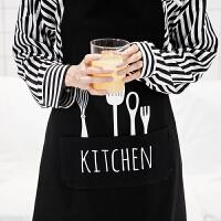 家纺北欧时尚简约厨房家居布艺围裙全棉纯色围裙可爱印花黑白两色可选