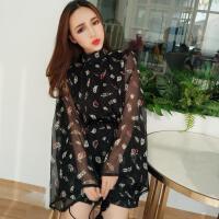 2018春夏季新款女装韩版性感露背喇叭袖雪纺连体裤春季社会女衣服