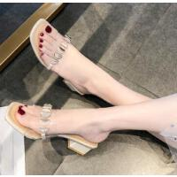拖鞋女外穿ins潮网红透明可湿水粗跟仙女风时尚百搭一字拖鞋