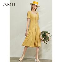 【券后预估价:202元】Amii极简法式复古气质连衣裙2020夏新款方领收腰修身显瘦女a字裙