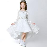 女童礼服圣诞节小拖尾秋冬 童装儿童礼服公主裙花童礼服长袖婚纱裙 白色