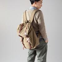 七夕礼物新款盖式潮人街头背包帆布包男女韩版休闲包旅行包双肩包包大包 卡其布色