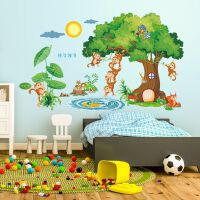 大号儿童房间装饰男孩墙贴可移除幼儿园教室布置可爱国学卡通贴纸 超大猴子捞月亮 特大