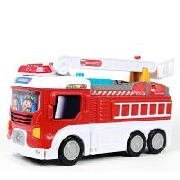 移动消防总部变形警车工程车大型灯光音乐儿童停车场赛车轨道玩具模型男孩礼物